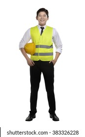 Asian worker wearing safety vest and yellow helmet isolated over white background