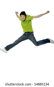 Asian young adult jumping in the air with