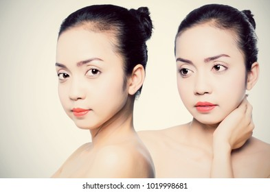 Asian young beautiful woman shows her face after using the product face treatment,. Skincare concept.