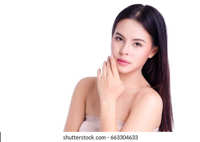 asian young beautiful woman smiling and touching her face, isolated over white background. natural makeup, SPA therapy, skincare, cosmetology and plastic surgery concept.with free copyspace
