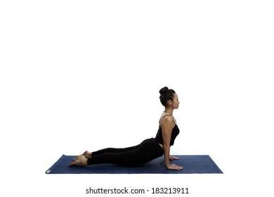 Asian young beautiful yoga posing on a white studio background-Studio Shooting.