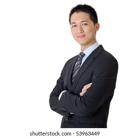 Asian young business man portrait on white background.