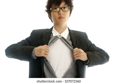 Asian young business man showing inside of his suit isolated on white background