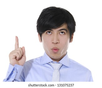 Asian young business man showing pointing up,