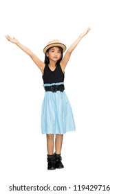 Asian young girl hand up in the air, Isolated over white