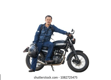 Asian young man riding a motorcycle on a black classic model on white background