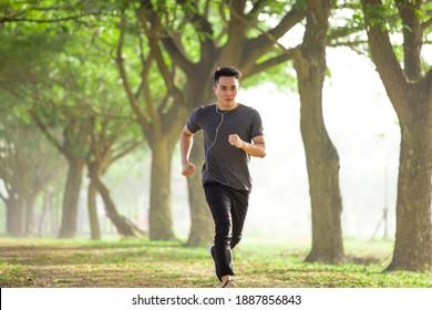 午前中の霧の中で森を走るアジアの若者