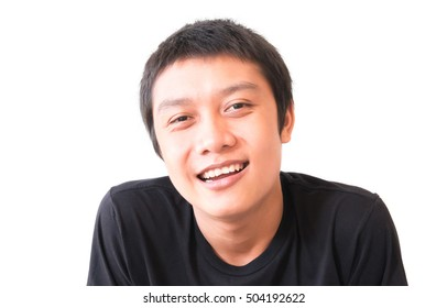 Asian young man smiling, Happy feeling character with white background