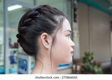 Asian young teenager hair braid