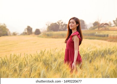 Asian young woman in dress walking in barley field growing on mountain at sunset, freedom holiday lifestyle, tourism in modern agriculture field