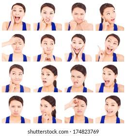 asian young woman facial expressions
