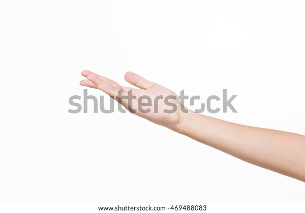 Asian young woman hand gesture, isolated.