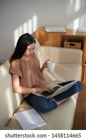 Asian young woman sitting on sofa working online on laptop computer while drinking coffee from the cup at home