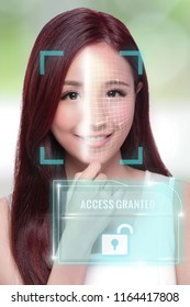 Asian young woman use smart phone unlocking with biometric facial identification