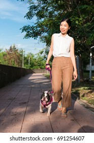 an Asian young woman walking in a public park with her french bulldog in a sunny day, an activity for a dog and dog lover