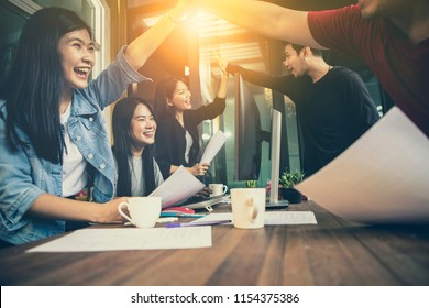 asian younger freelance teamwork  job successfull happiness emotion