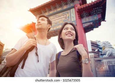 asian younger tourist standing in bangkok china town heart of thailand capital