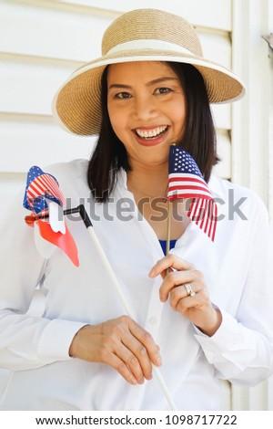 adda2779b2 Asian American Woman Celebrating 4th July Stock Photo (Edit Now ...