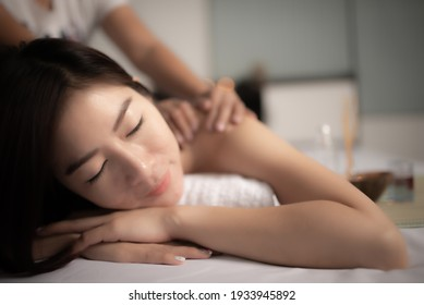 Asians beautiful woman sleep  spa and relax massage,Time of relax after tired from hard work,Thailand people