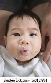 Asians eat babies mouth mess forced to eat.
