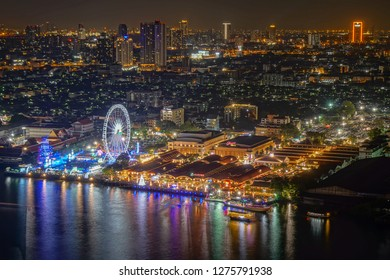Asiatique at night on New Year's Eve, Bangkok, Thailand-31th December 2019