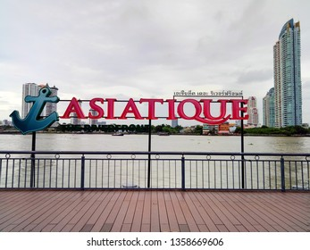 ASIATIQUE THE RIVERFRONT, BANGKOK, THAILAND-AUG 18: Asiatique logo is nearby Chao Phraya river in cloudy day 26 Aug 19.