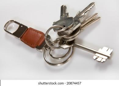 Asingle silver keys on a white background