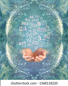 Ask a Numerologist for guidance - female cupped hands emerging from an ethereal jade green  energy field with a cloud of random numbers above surrounded by a frame of glittering sparkles