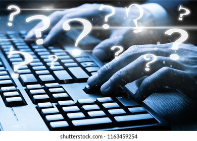 ask quiestion online, FAQ concept, what where when how and why, search information on internet