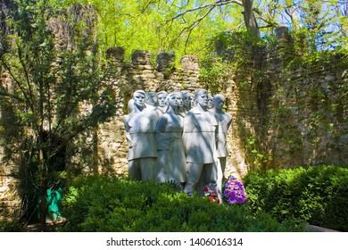 Askania-Nova, Kherson region, Ukraine - May 01, 2018: Monument to those killed during the war in biosphere reserve Askania-Nova