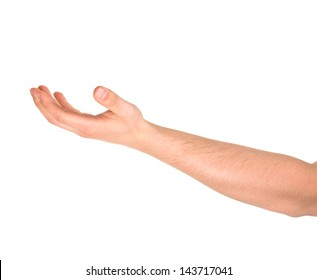 Asking for the help caucasian hand gesture isolated over white background