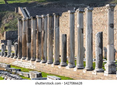 Asklepion in Bergama, one of the most important health centers of ancient times. Bergama Acropolis. Archways in the ruins of the ancient city of Pergamon Izmir, Turkey. View of ancient ruins in Asklep