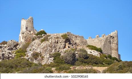 Asklipiou castle ruins on Rhodes island