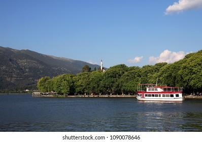 Aslan pasha mosque and lake Ioannina cityscape Greece