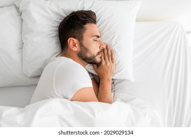Asleep millennial man sleeping, resting peacefully in comfortable bed, lying with closed eyes, top view, free space. Recreation, deep male sleep, time to rest and nap concept