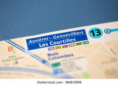 Asnieres-Gennevilliers Les Courtilles Station. 13th Line. Paris.