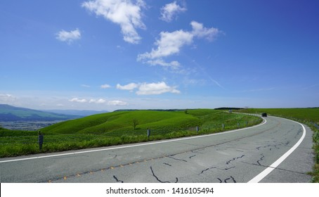 Aso mountain plateau road in Japan,Landscape of the Aso plateau in Japan,Aso Outer ring mountain in Japan,