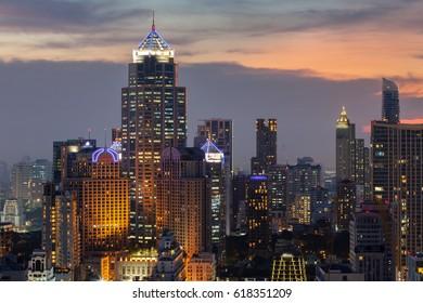 Asoke District with Modern Building, Bangkok Cityscape at dusk (Thailand)