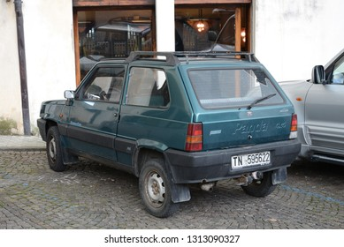 ASOLO, ITALY - AUGUST 26, 2013: FIAT Panda 4x4 classic Italian 1980s four wheel drive compact car designed by Giorgetto Giugiaro of Italdesign. Steyr-Puch supplied the entire drivetrain for 4x4 cars.