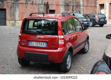 ASOLO, ITALY - AUGUST 26, 2013: FIAT Panda 4x4 Second generation Italian four wheel drive compact car.