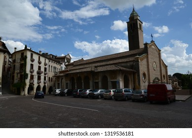 ASOLO, ITALY - AUGUST 26, 2013: Classic Italian cityscape in Asolo old town centre.