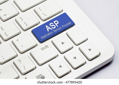 ASP or Application Service Provider text on the white Keyboard