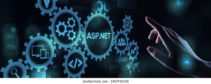 ASP.NET Development programming language concept on virtual screen.