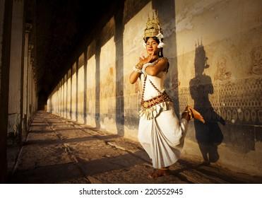 Aspara Dancer at Angkor Wat. Sepia toned.