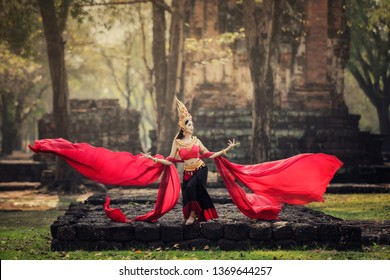 Aspara Dancer in the Asian culture Traditional Concept , at old temple Thailand