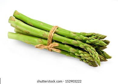 Asparagus bunch a premium seasonal vegetable isolated on a white background with light shadow