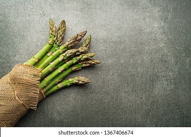 Asparagus. Fresh Asparagus. Green Asparagus. Bunches of green asparagus, top view- Image