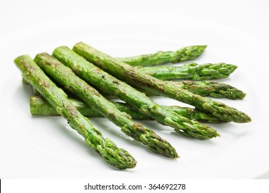 Asparagus fried isolated on white background