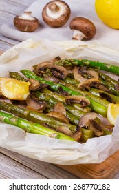 Asparagus, and Mushrooms in Parchment