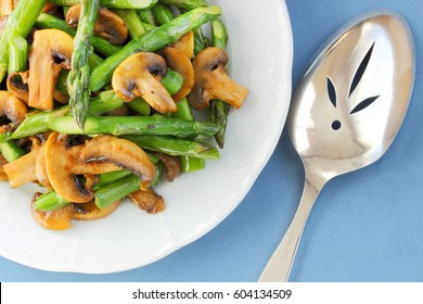 Asparagus and mushrooms sauteed in a butter like spread so it is kosher for your Passover Seder